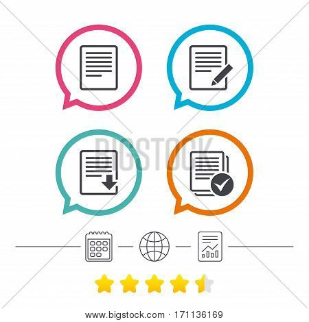 File document icons. Download file symbol. Edit content with pencil sign. Select file with checkbox. Calendar, internet globe and report linear icons. Star vote ranking. Vector