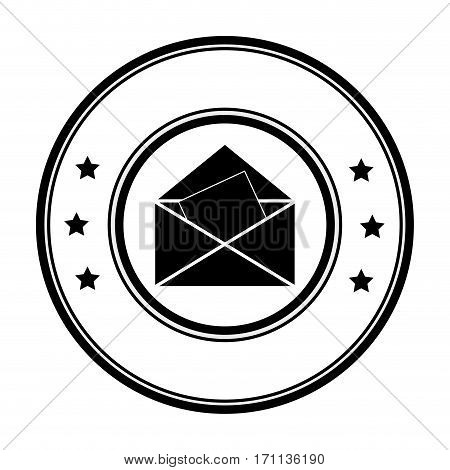 circular border with silhouette envelope opened with sheet vector illustration
