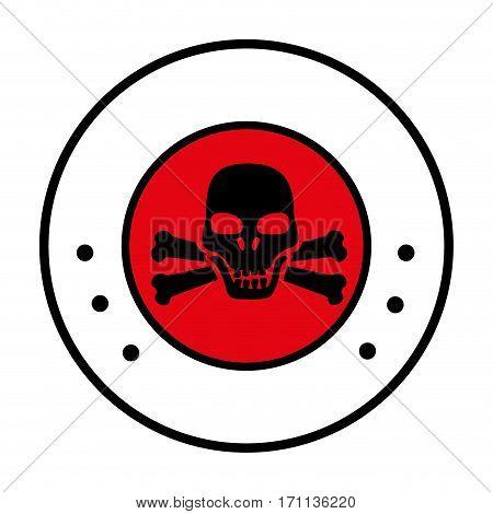 circular border with symbol skull and bones vector illustration