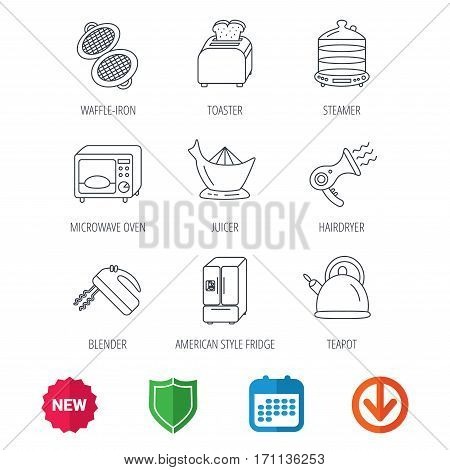Microwave oven, teapot and blender icons. Refrigerator fridge, juicer and toaster linear signs. Hair dryer, steamer and waffle-iron icons. New tag, shield and calendar web icons. Download arrow