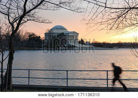Washington DC in winter - Jefferson Memorial during sunset