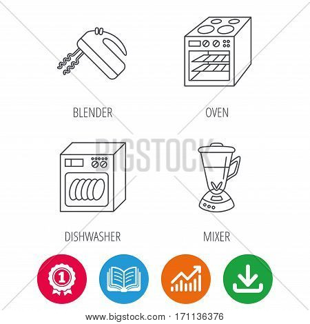 Dishwasher, oven and mixer icons. Blender linear sign. Award medal, growth chart and opened book web icons. Download arrow. Vector