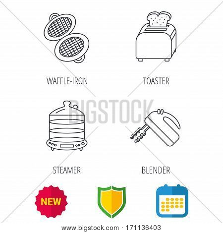 Waffle-iron, toaster and blender icons. Steamer linear sign. Shield protection, calendar and new tag web icons. Vector