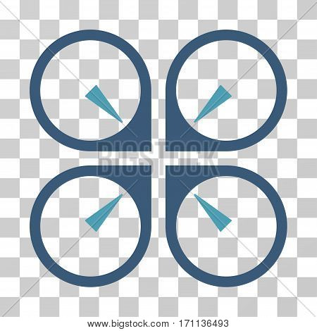 Hover Drone icon. Vector illustration style is flat iconic bicolor symbol cyan and blue colors transparent background. Designed for web and software interfaces.
