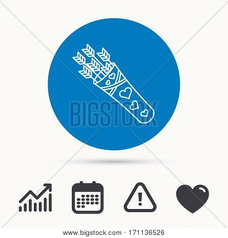 Cupid arrows icon. Love weapon sign. Calendar, attention sign and growth chart. Button with web icon. Vector