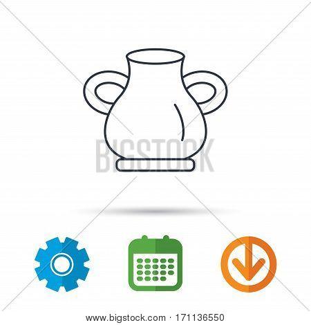 Vase icon. Decorative vintage amphora sign. Calendar, cogwheel and download arrow signs. Colored flat web icons. Vector