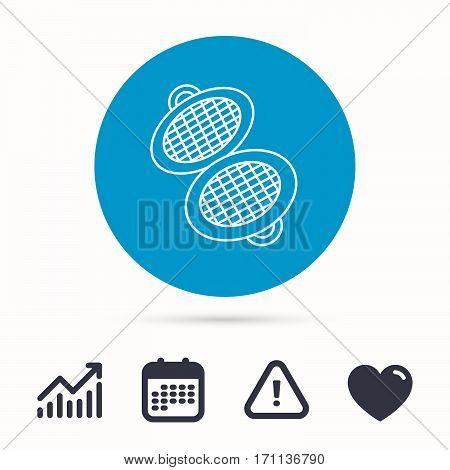 Waffle iron icon. Kitchen baking tool sign. Calendar, attention sign and growth chart. Button with web icon. Vector