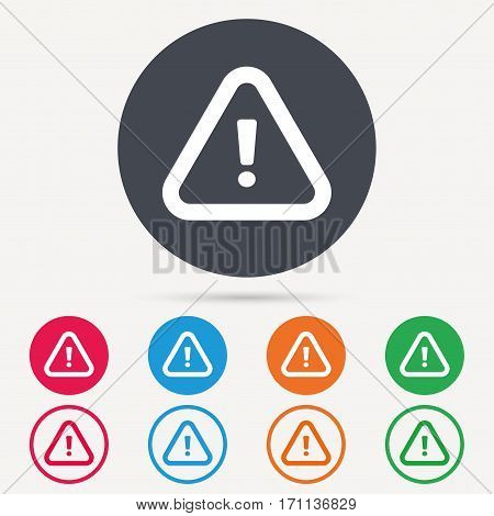 Warning icon. Attention exclamation mark symbol. Round circle buttons. Colored flat web icons. Vector