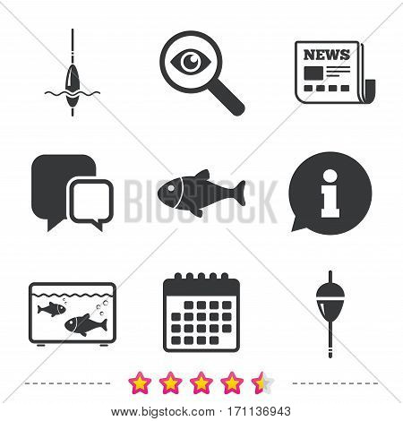 Fishing icons. Fish with fishermen hook sign. Float bobber symbol. Aquarium icon. Newspaper, information and calendar icons. Investigate magnifier, chat symbol. Vector