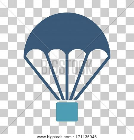 Parachute icon. Vector illustration style is flat iconic bicolor symbol cyan and blue colors transparent background. Designed for web and software interfaces.