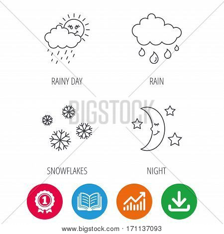 Weather, snowflakes and rain icons. Moon night linear sign. Award medal, growth chart and opened book web icons. Download arrow. Vector