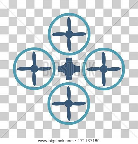 Quadcopter icon. Vector illustration style is flat iconic bicolor symbol cyan and blue colors transparent background. Designed for web and software interfaces.