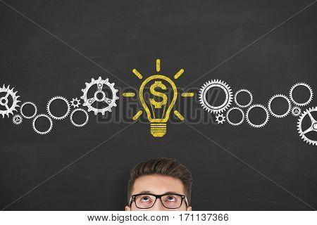 Finance Idea Concepts Drawing on Blackboard Background