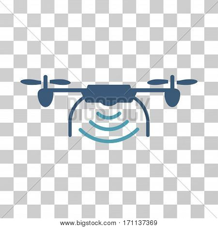 Radio Transmitter Airdrone icon. Vector illustration style is flat iconic bicolor symbol cyan and blue colors transparent background. Designed for web and software interfaces.