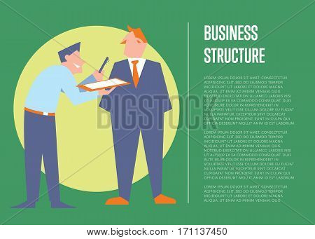 Smiling office clerk giving pen and clipboard his boss for signature. Business structure banner, isolated vector illustration on green background. Organized work process. Teamwork concept