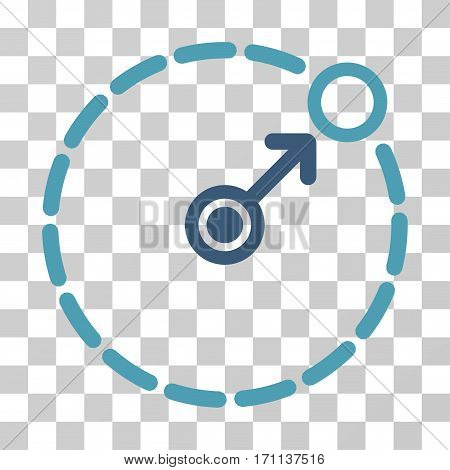 Round Area Border icon. Vector illustration style is flat iconic bicolor symbol cyan and blue colors transparent background. Designed for web and software interfaces.