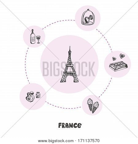 Attractive France. Eiffel tower doodle surrounded ring with diamond, wine, perfumes, chocolate, ice cream, hand drawn pink vector icons. French cultural, culinary, fashion symbols. Travel in Europe