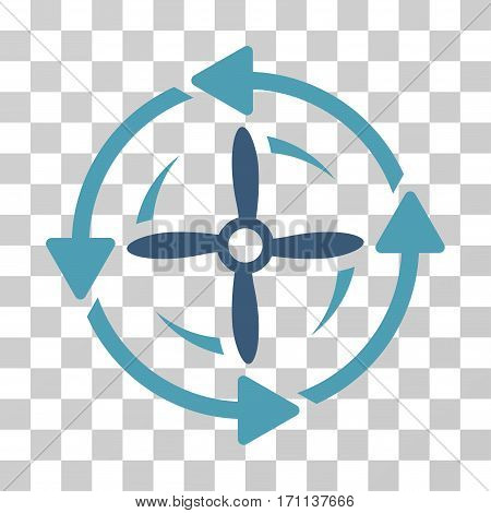 Screw Rotation icon. Vector illustration style is flat iconic bicolor symbol cyan and blue colors transparent background. Designed for web and software interfaces.