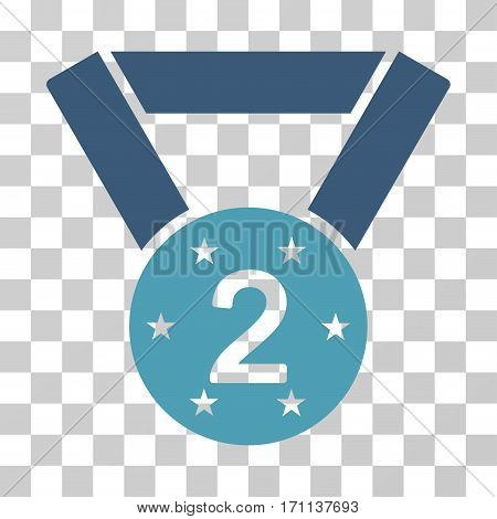 Second Medal icon. Vector illustration style is flat iconic bicolor symbol cyan and blue colors transparent background. Designed for web and software interfaces.