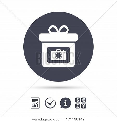 Gift box sign icon. Present with photo camera symbol. Report document, information and check tick icons. Currency exchange. Vector