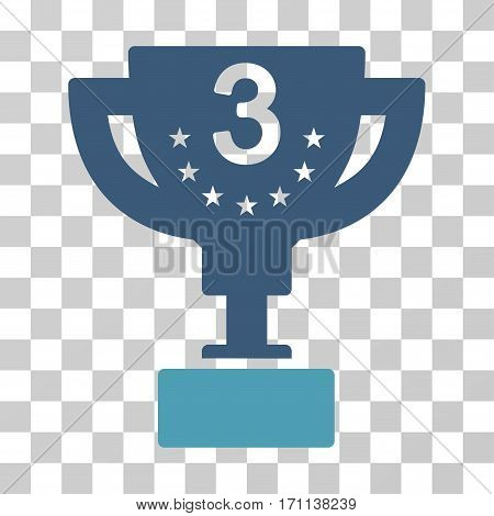 Third Prize Cup icon. Vector illustration style is flat iconic bicolor symbol cyan and blue colors transparent background. Designed for web and software interfaces.