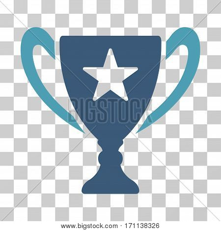 Trophy Cup icon. Vector illustration style is flat iconic bicolor symbol cyan and blue colors transparent background. Designed for web and software interfaces.