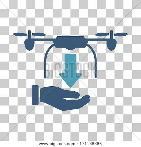 Unload Drone Hand icon. Vector illustration style is flat iconic bicolor symbol cyan and blue colors transparent background. Designed for web and software interfaces.