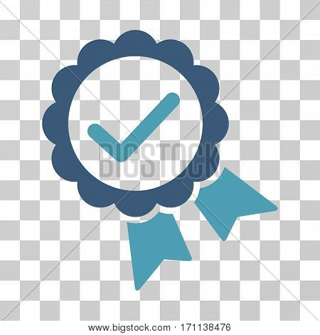 Validity Seal icon. Vector illustration style is flat iconic bicolor symbol cyan and blue colors transparent background. Designed for web and software interfaces.