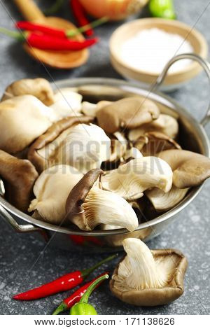 Oyster mushrooms and food ingredients for cooking