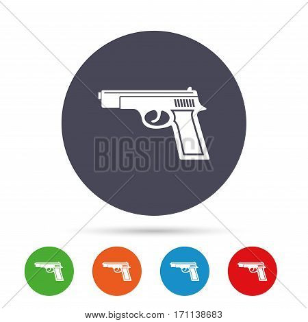Gun sign icon. Firearms weapon symbol. Round colourful buttons with flat icons. Vector