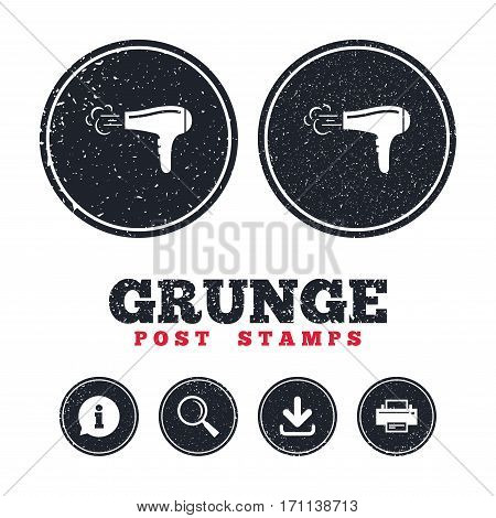 Grunge post stamps. Hairdryer sign icon. Hair drying symbol. Blowing hot air. Turn on. Information, download and printer signs. Aged texture web buttons. Vector
