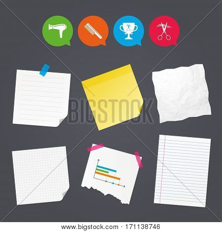 Business paper banners with notes. Hairdresser icons. Scissors cut hair symbol. Comb hair with hairdryer symbol. Barbershop winner award cup. Sticky colorful tape. Speech bubbles with icons. Vector