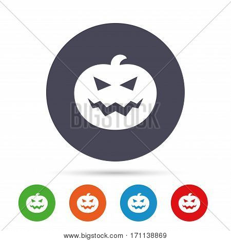Halloween pumpkin sign icon. Halloween party symbol. Round colourful buttons with flat icons. Vector