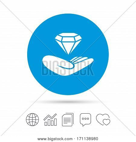 Jewelry insurance sign. Hand holds diamond symbol. Brilliant insurance. Copy files, chat speech bubble and chart web icons. Vector