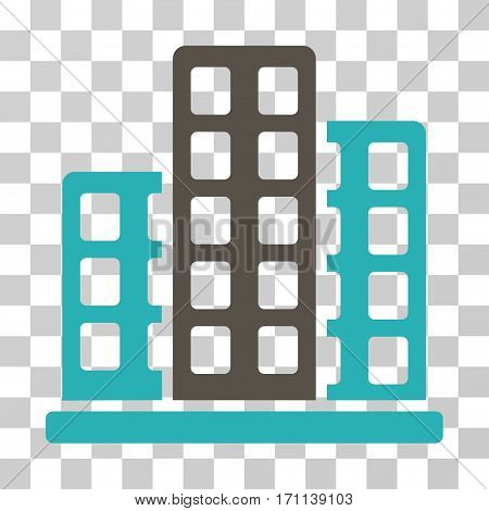 City icon. Vector illustration style is flat iconic bicolor symbol grey and cyan colors transparent background. Designed for web and software interfaces.