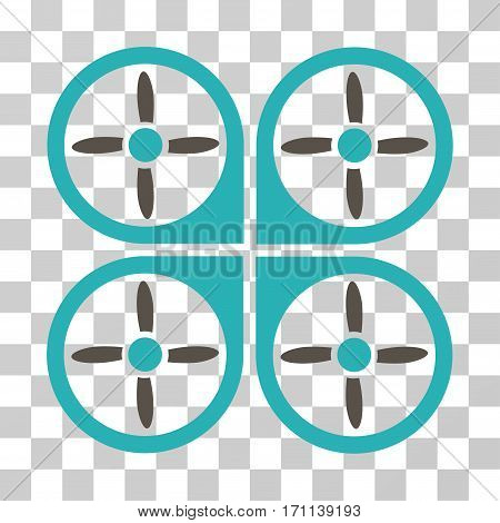 Copter icon. Vector illustration style is flat iconic bicolor symbol grey and cyan colors transparent background. Designed for web and software interfaces.