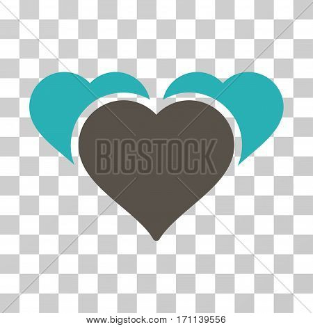 Favourite Hearts icon. Vector illustration style is flat iconic bicolor symbol grey and cyan colors transparent background. Designed for web and software interfaces.