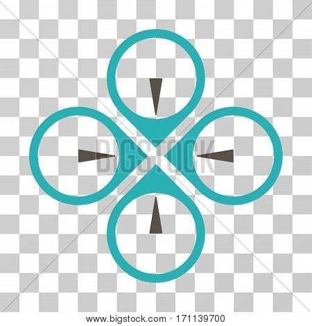 Fly Drone icon. Vector illustration style is flat iconic bicolor symbol grey and cyan colors transparent background. Designed for web and software interfaces.