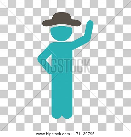 Gentleman Assurance icon. Vector illustration style is flat iconic bicolor symbol grey and cyan colors transparent background. Designed for web and software interfaces.