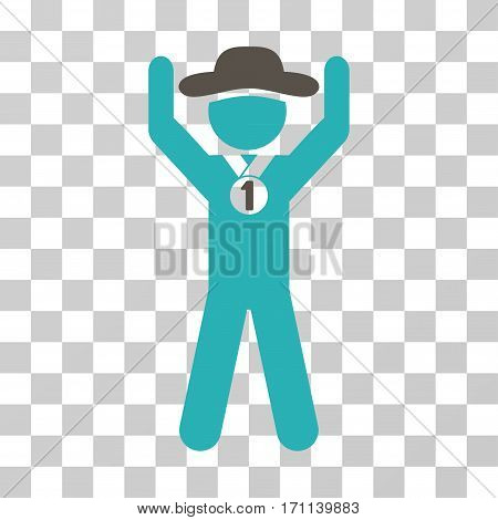 Gentleman Champion icon. Vector illustration style is flat iconic bicolor symbol grey and cyan colors transparent background. Designed for web and software interfaces.