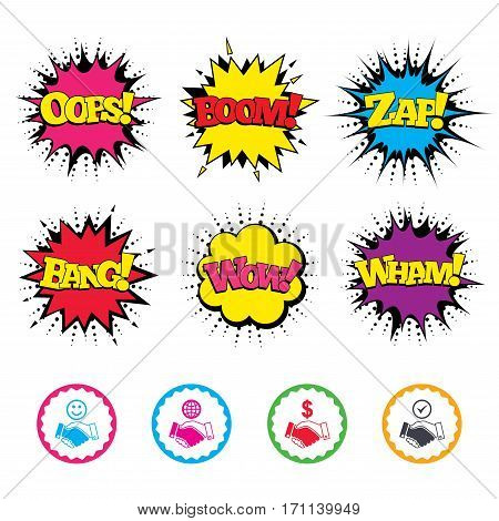 Comic Wow, Oops, Boom and Wham sound effects. Handshake icons. World, Smile happy face and house building symbol. Dollar cash money. Amicable agreement. Zap speech bubbles in pop art. Vector