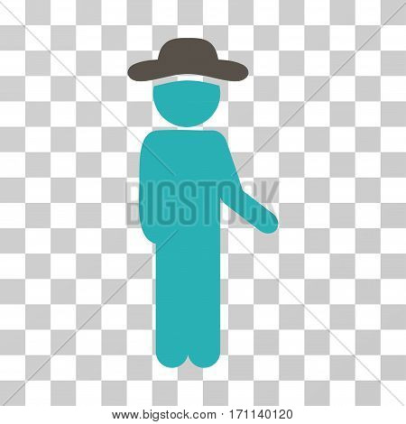 Gentleman Idler icon. Vector illustration style is flat iconic bicolor symbol grey and cyan colors transparent background. Designed for web and software interfaces.