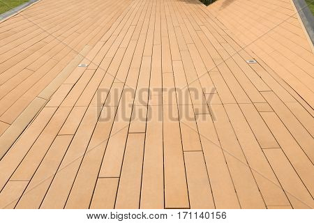 Wood texture and background Wood floor walkway in the park.