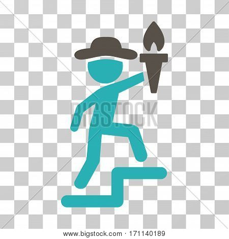 Gentleman Leader icon. Vector illustration style is flat iconic bicolor symbol grey and cyan colors transparent background. Designed for web and software interfaces.