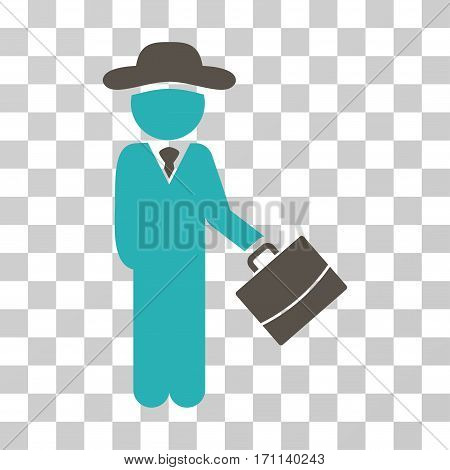 Gentleman Manager icon. Vector illustration style is flat iconic bicolor symbol grey and cyan colors transparent background. Designed for web and software interfaces.