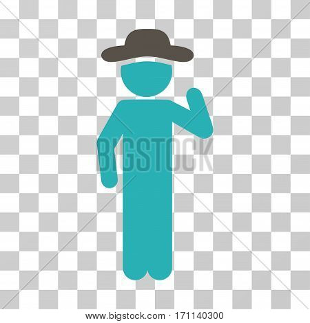 Gentleman Opinion icon. Vector illustration style is flat iconic bicolor symbol grey and cyan colors transparent background. Designed for web and software interfaces.