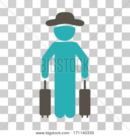 Gentleman Passenger icon. Vector illustration style is flat iconic bicolor symbol grey and cyan colors transparent background. Designed for web and software interfaces.