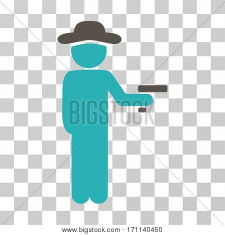 Gentleman Robber icon. Vector illustration style is flat iconic bicolor symbol grey and cyan colors transparent background. Designed for web and software interfaces.