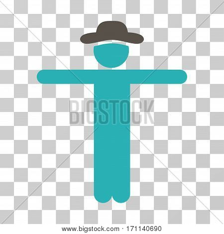 Gentleman Scarescrow icon. Vector illustration style is flat iconic bicolor symbol grey and cyan colors transparent background. Designed for web and software interfaces.