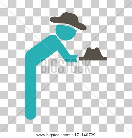 Gentleman Servant icon. Vector illustration style is flat iconic bicolor symbol grey and cyan colors transparent background. Designed for web and software interfaces.